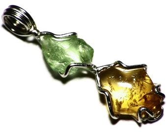 Peridot And Tourmaline Pendant, Two Birthstone Necklace Sterling Silver, Tourmaline Cabochon (6.7 tctw) Multi Gem Pendant in Sterling Silver