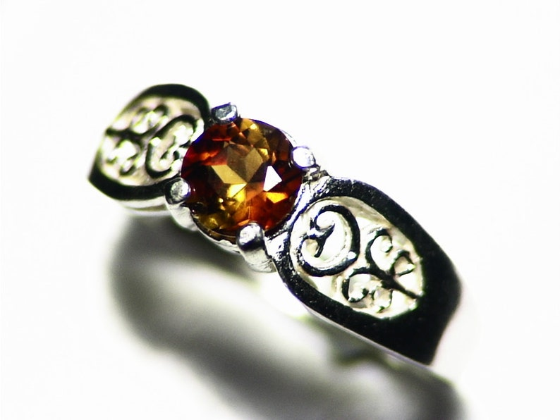 Orange Tourmaline Ring in Sterling Silver Size 6.5 0.7 ct image 0
