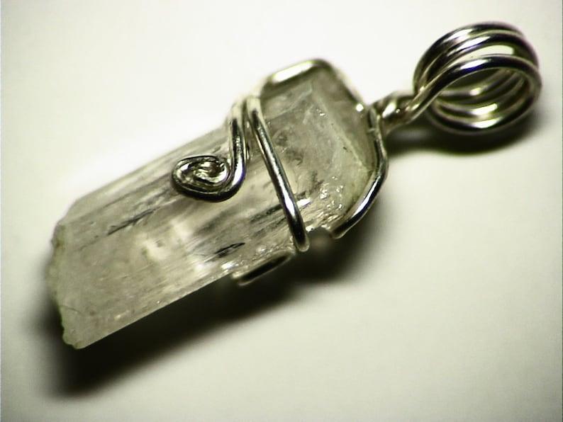 Silver Gift Danburite Wire Wrap Pendant Big Crystal Pendant 12.2 ct Raw Danburite Crystal Jewelry Danburite Necklace in Sterling Silver