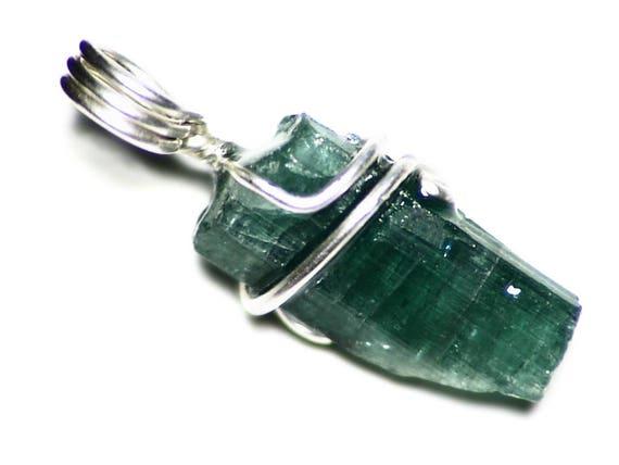Petrol / Turmalin Halskette Silber Draht gewickelt