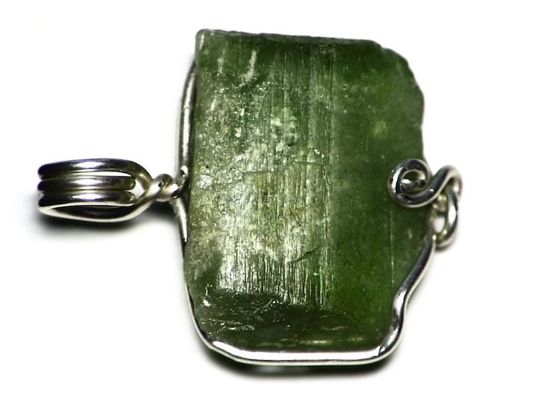 Large Peridot Pendant Handmade Peridot Birthstone Necklace 35 ct Genuine Peridot Gift Raw Peridot Crystal in Sterling Silver Wire Wrap