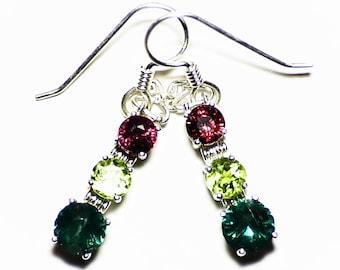 Blue Apatite Earrings, Rhodolite Earrings, Peridot Earrings, Three Gemstone Dangle Earrings, Sterling Silver Earring, Purple Garnet Earrings