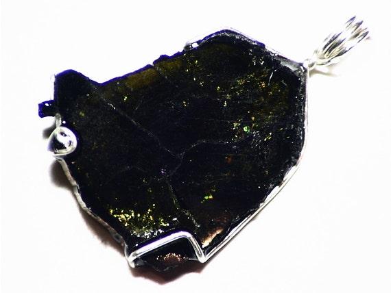 Turmalin Halskette grün-schwarzen Turmalin Scheibe Anhänger