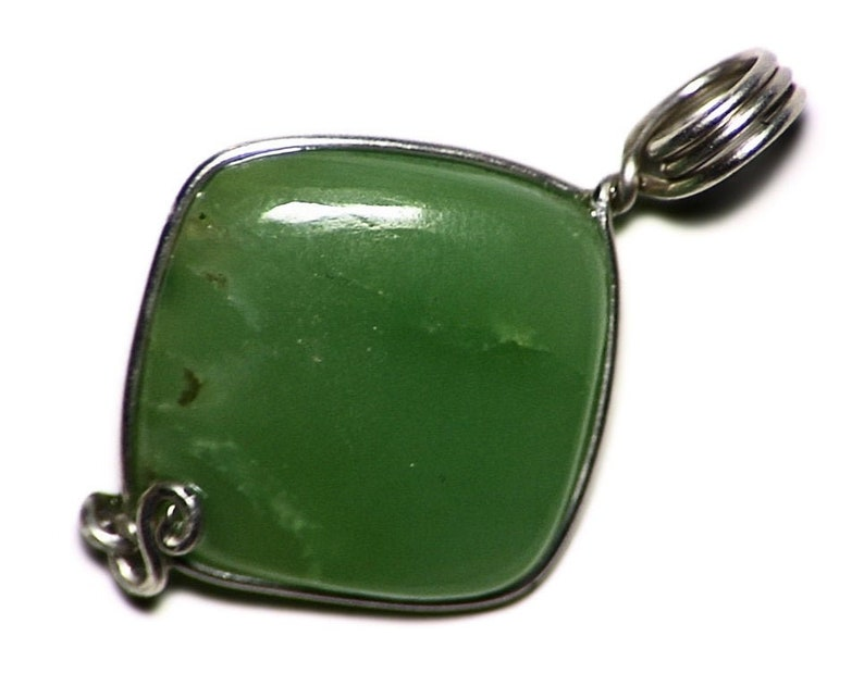 Untreated Gem Jewelry For Girlfriend Real Australian Gemstone Necklace Green Chrysoprase Pendant in Sterling Silver Wire Wrap For a Woman