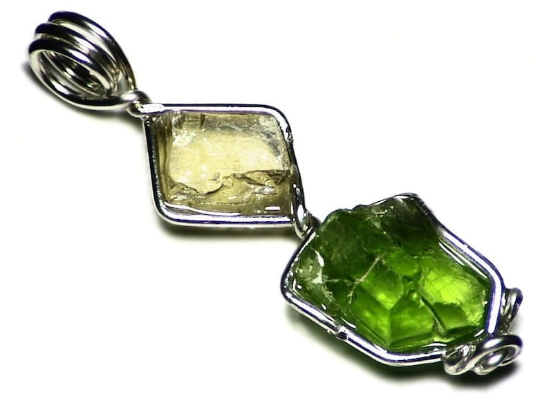 Peridot and Barite Multi Crystal Pendant 8 & 8 ct Sterling image 0