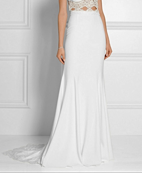 715df207bbe Bridal skirt Crepe lace train Floor length maxi skirt