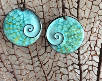 Reserved For Lindsay/Copper Enamel Earrings/ with Cloisone Spiral/Seascape/Nature Art/Costa Rica Inspiration/Tropical