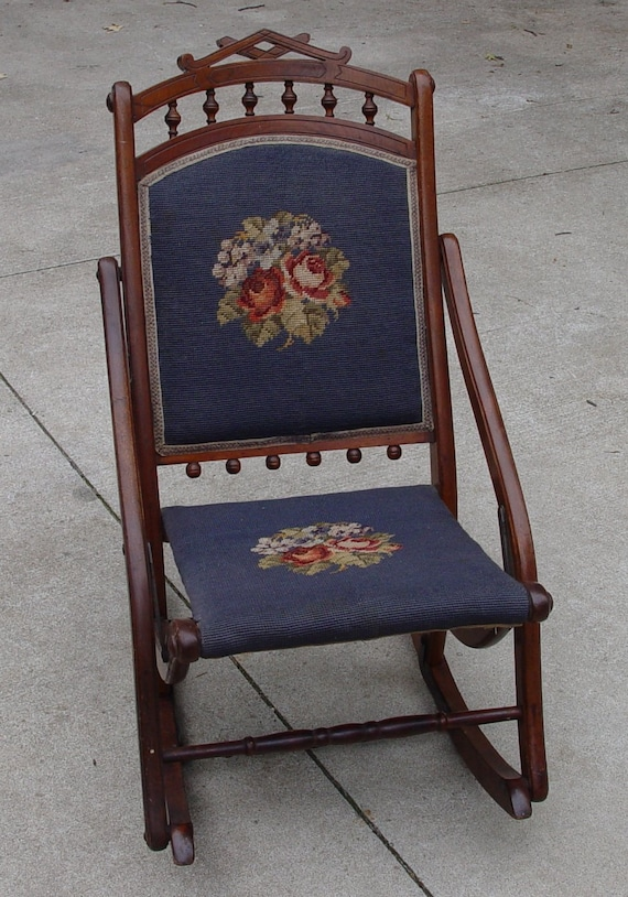 image 0 - Antique Sewing Rocker Rocking Chair Needlepoint Back And Seat Etsy