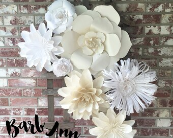 Large Paper Flowers in White and Cream, Wedding Paper Flower Backdrop, Bridal Shower, Nursery, Office & Bedroom Decor, Removable Wall Art
