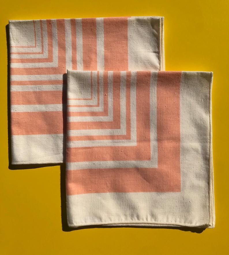 Vintage Peach Striped Napkins Set of 2
