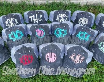 Ladies Monogrammed Personalized Distressed Mesh Trucker cap baseball cap ball cap trucker hat monogrammed hat cute hat custom hat