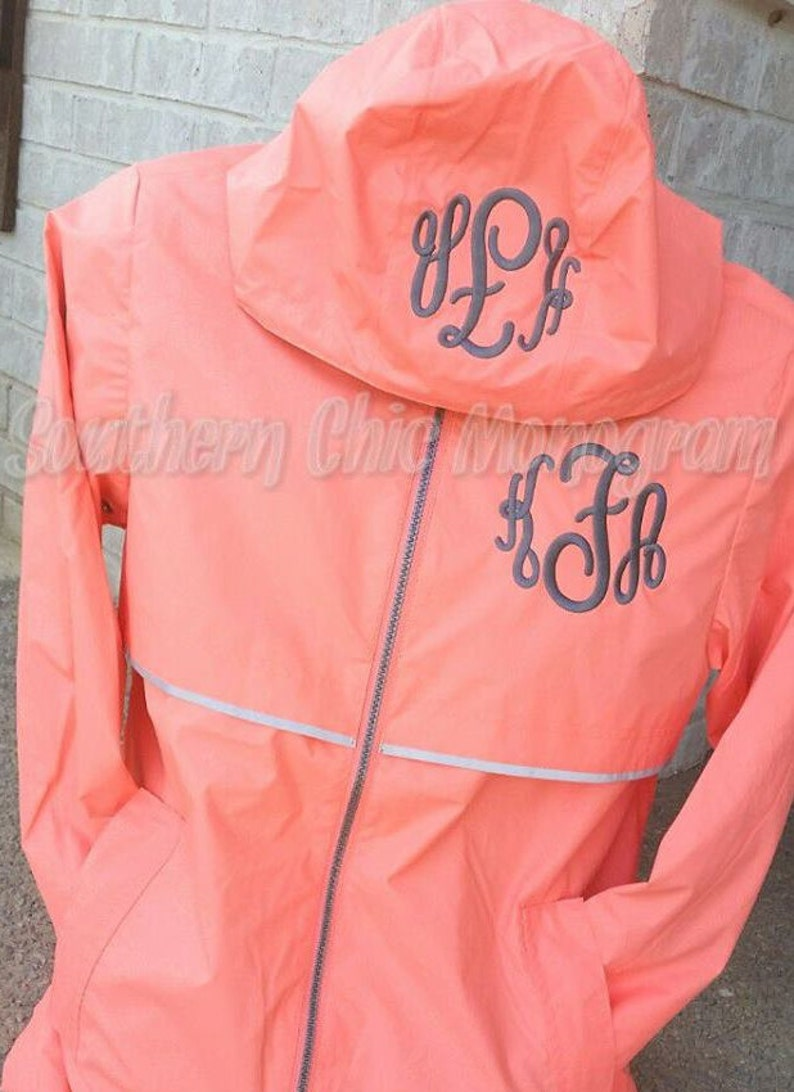 db4aaebe4 Bright Coral raincoat Preppy Charles River Women's New Englander 5099  Monogrammed Rain Jacket Sorority Greek Preppy Plus Size