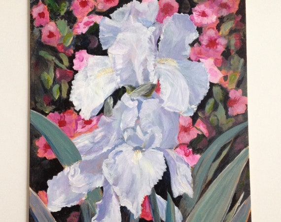 Two White Irises 11x14 Inch Original Painting