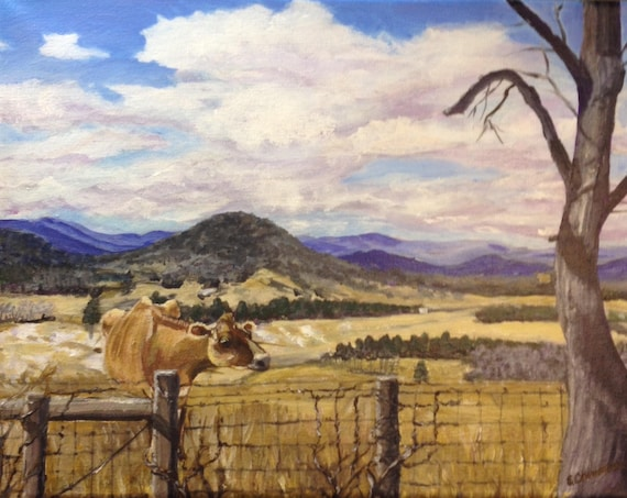Blue Ridge Cow in Winter: 11x14 Original Art