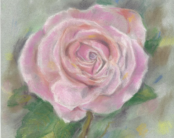 Soft Rose Original Pastel Painting