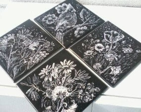 Custom Painted and Etched Tile Sets of 4