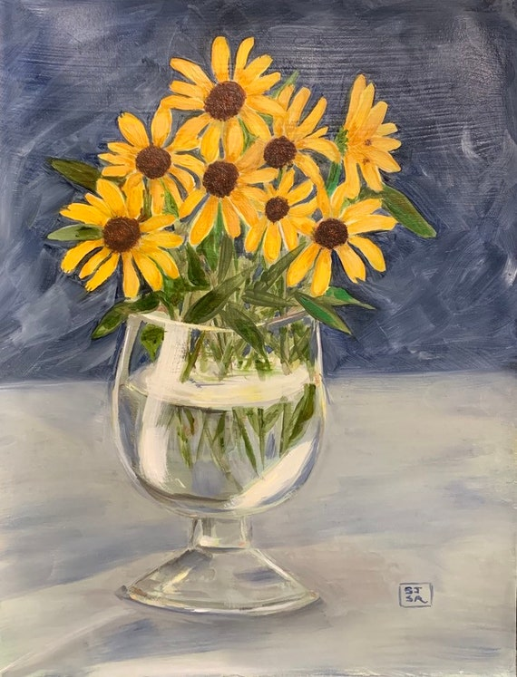 Blackeyed Susans Digital Print 8x10 Inch Art
