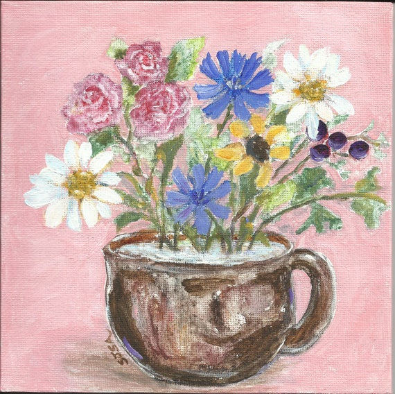 Cup of Blooms: original small painting on 6 x 6 inch square panel
