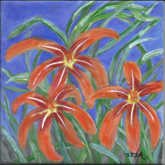 Daylily Impressions 6x6 inch hand painted tile