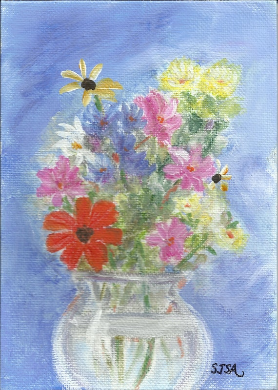 Wildflowers 1: original small painting on 5x 7 inch square canvas panel.