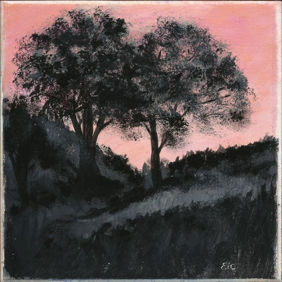 Set of 2 Custom Painted Tiles: Trees In Silhouette