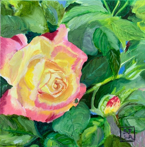 Yellow Rose on Green, 8x8 inch Digital Print of Original Oil Painting
