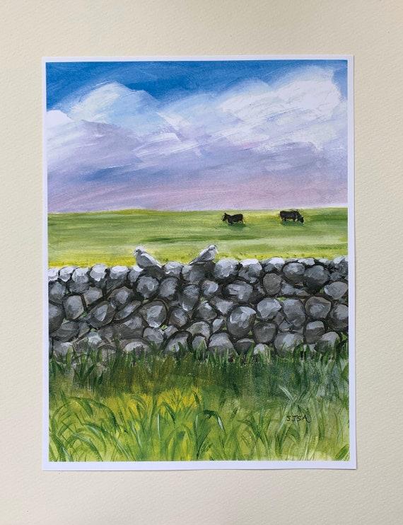"Digital Print Of ""Irish Stone Wall With Two Birds"" Original Landscape Art"