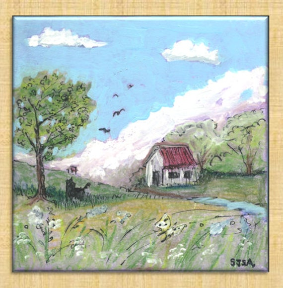 6 inch square tile painting--Storm's Coming!