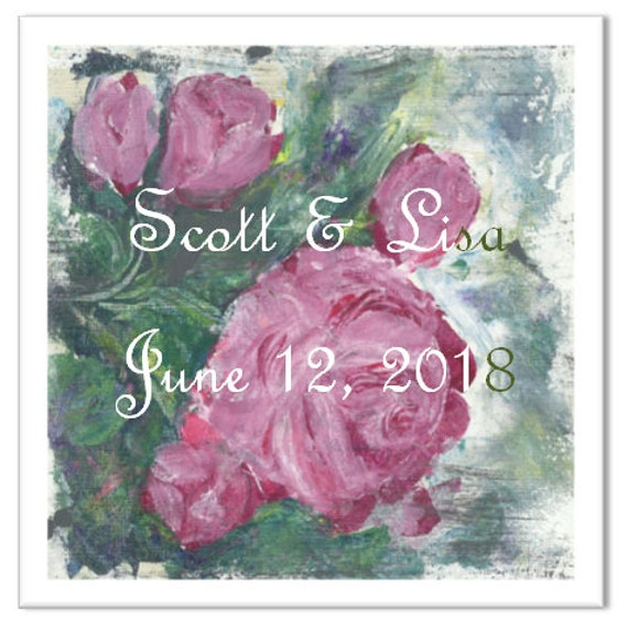 Text-On-Tiles Rose Wedding Tile-Custom