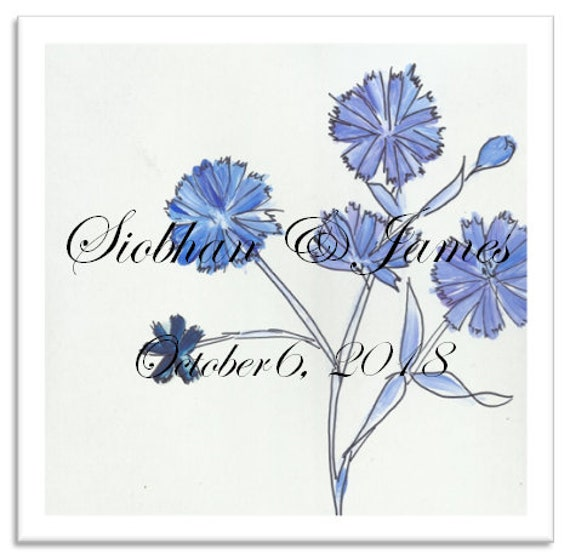 Text-On-Tiles Chicory Blue Wedding Tile-Custom