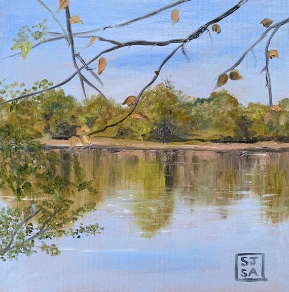 Fall Morning On The Potomac. Digital  Print 6X6 Inches From Original Oil Painting