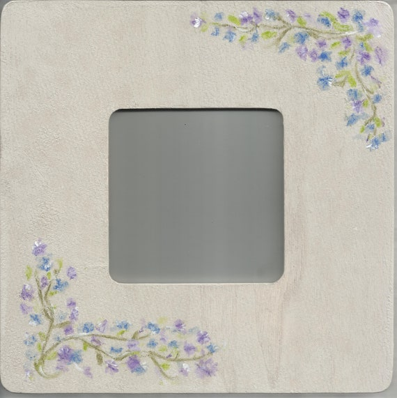 Painted Frame: Square, with Double Blue Floral Accent