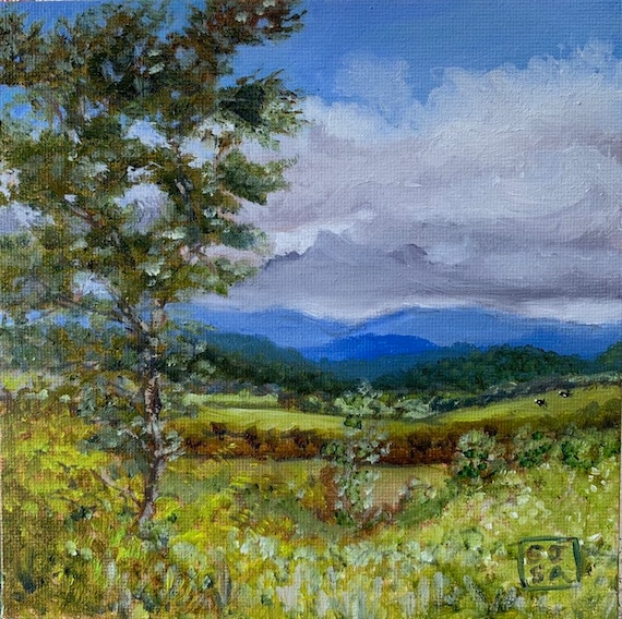 Blue Ridge Mountains Small Original Art Print From Virginia