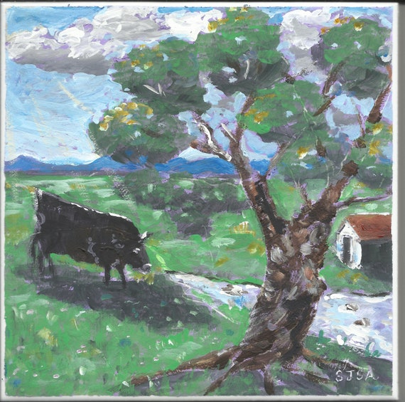 "Original Tile Painting 6x6 ""In Verdant Pastures"""
