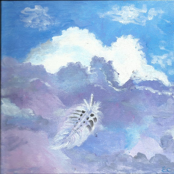 Cloud Dream Feather: original small painting on 6 x6 inch square canvas panel