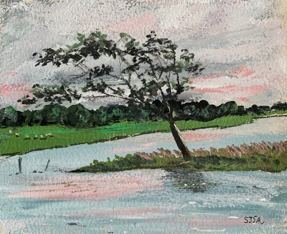 Impressionism Irish Landscape Art Print--Windswept Tree in Galway, Ireland