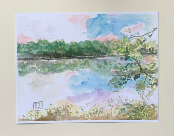 "Digital Print of Original Watercolor Painting ""Potomac River Spring"""