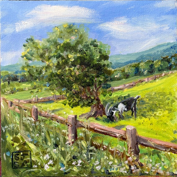 Goat in Green Field Original Small Painting Oils