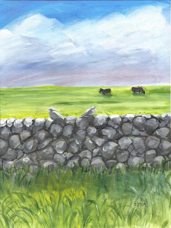 Daily Sketch #2 Original Art: Irish Stone Wall