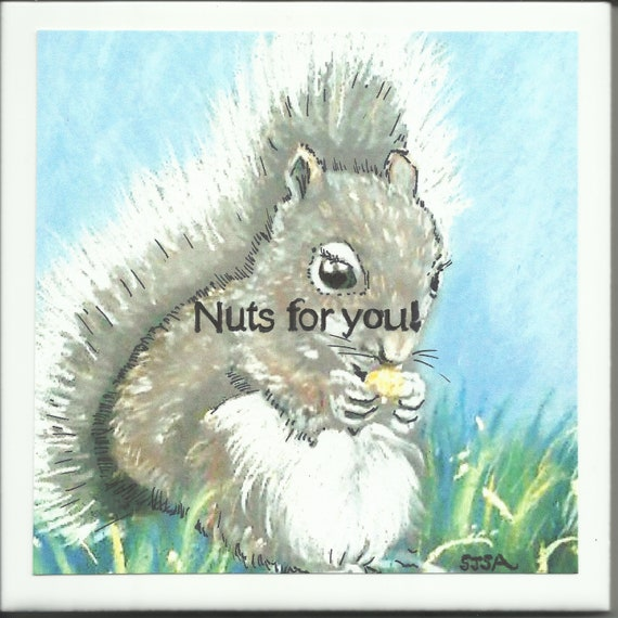 Text-On-Tiles Nutty Squirrel Custom Tile-You choose the words!