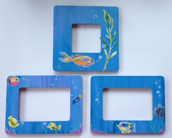 Fish Frames set of 3 handpainted frames
