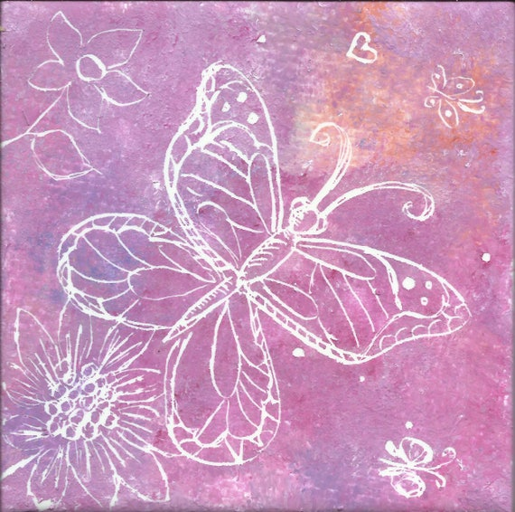 Butterfly 4x4 Inch Etched Tile Art