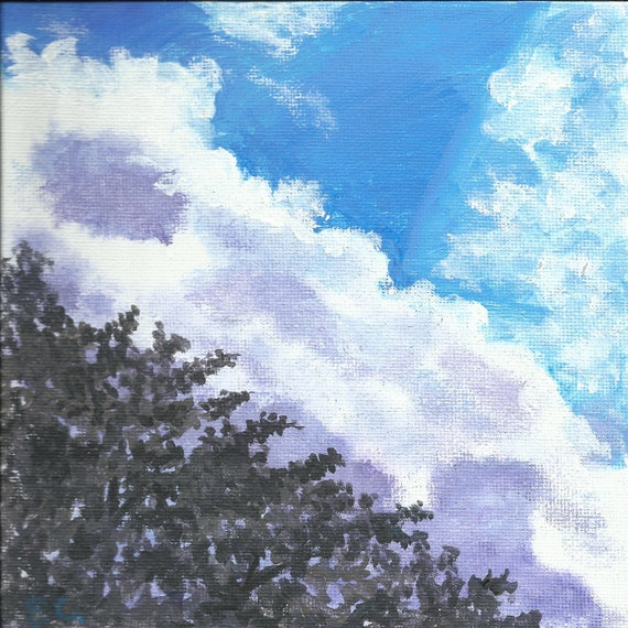 Cloud Dream Tree: original small painting on 6 x 6 inch square canvas panel