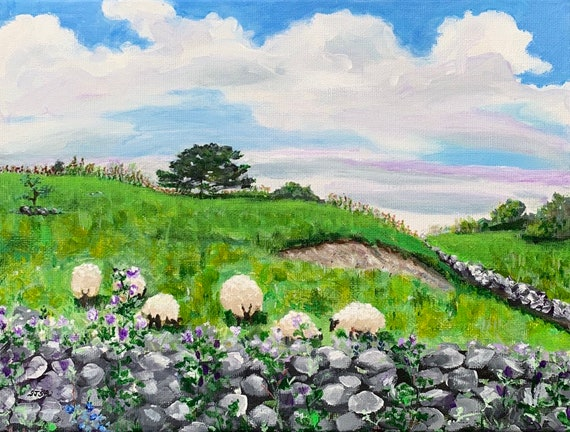 Co Galway Ireland Art Print of Original Stone Wall Painting--Lough Hackett