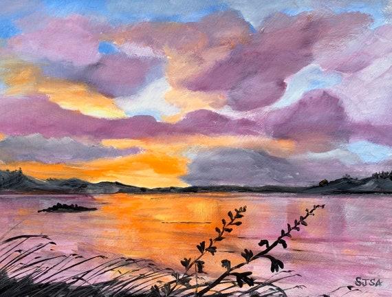 Purple Orange Sunrise Digital Print of Original Oil Painting