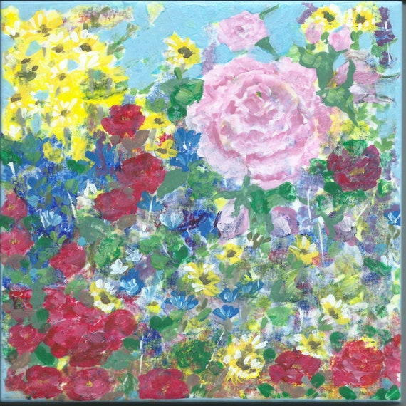 Summer Garden 6x6 inch hand-painted tile