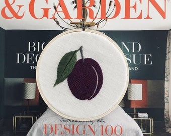 Plum PDF by mlmxoxo.  modern embroidery.  beginner embroidery.  pattern.  tutorial.  diy embroidery.  hand embroidery. PDFs will be emailed.