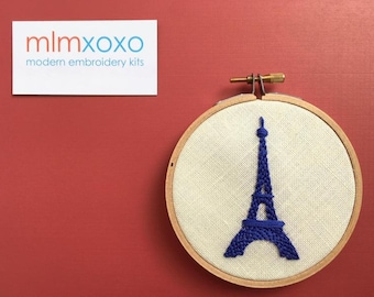Eiffel Tower embroidery PDF by mlmxoxo.  modern embroidery.  French decor.  design and instructions.  tutorial.  PDFs will be emailed.