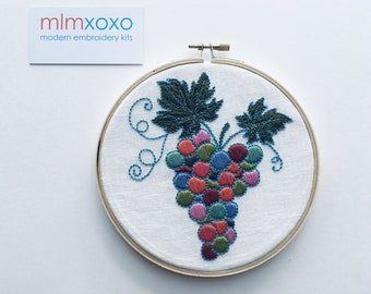 """Grapes on the Vine embroidery KIT.  modern embroidery.  harvest hoop art.   autumn home decor.  6"""" hoop diy embroidery kit.  hand embroidery"""