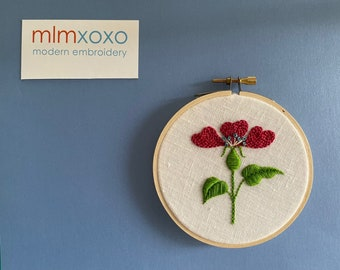 """Flower Kit by mlmxoxo.  hand embroidery kit.  flower.  floral.  botanical.  diy kit.  embroidery tutorial.  learn to embroider. 4"""" hoop art"""